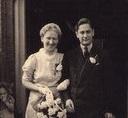 Trouwfoto Jacob Mozes d Ancona en Francien van der Hoek, 1945.