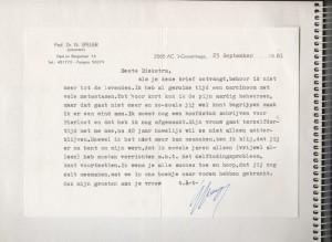 Afscheidsbrief van Nico Speijer aan René Diekstra.