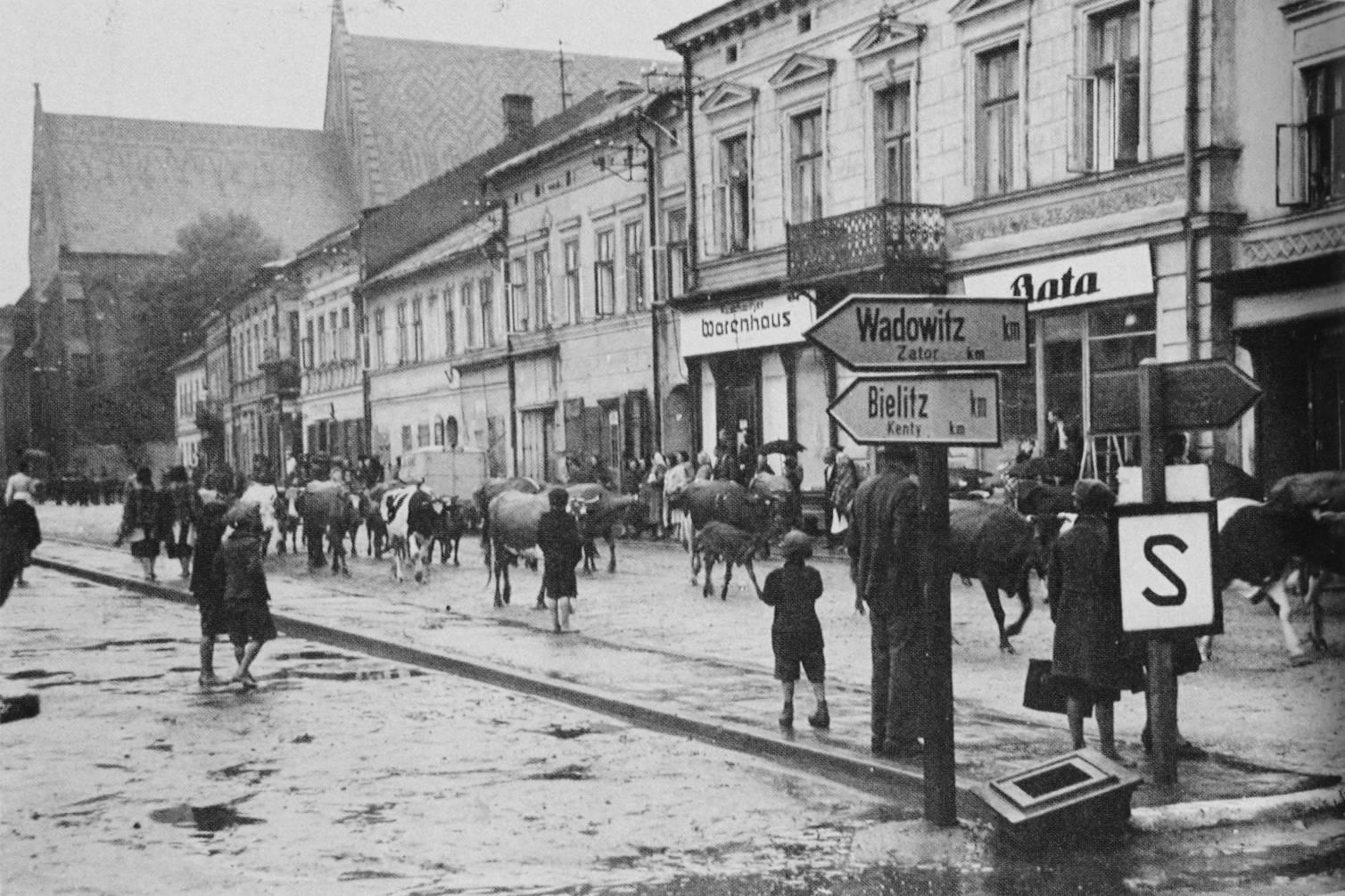 Markplaats van Oswiecim, 1940.
