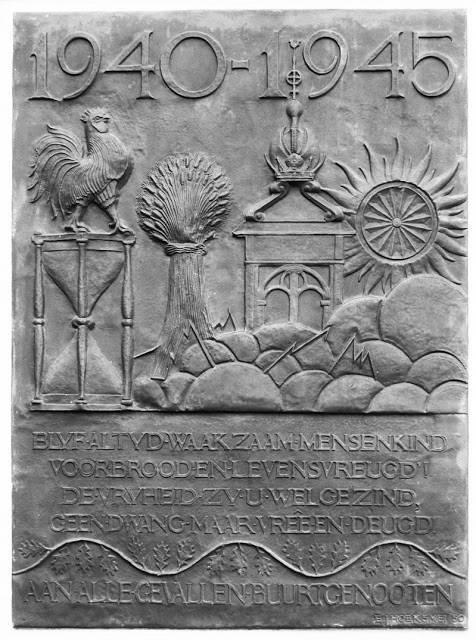 Het oorlogsmonument aan de Noorderkerk in Amsterdam, ontworpen door Ezechiël Jacob Hoek.