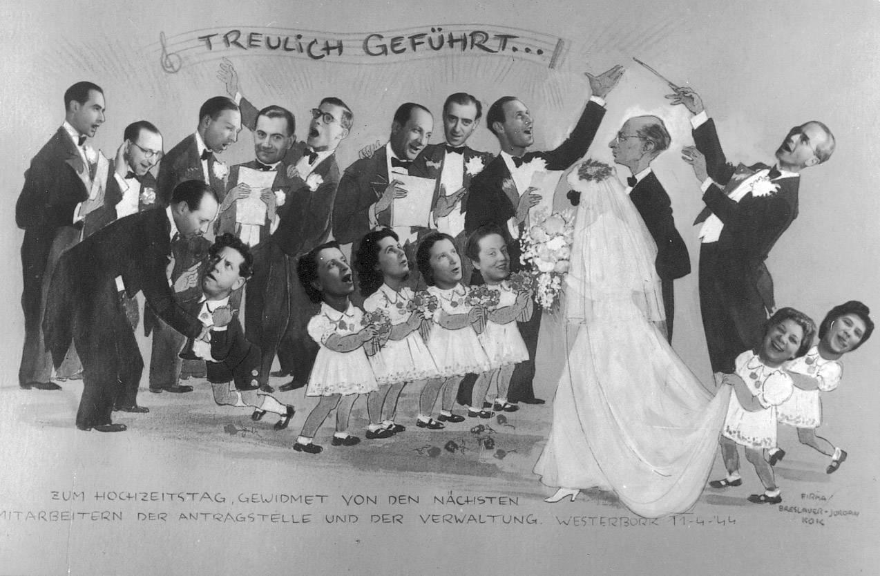 Een trouwkaart voor Hans Ottenstein, de leider van de Antragstelle, waarop alle medewerkers staan afgebeeld. Zesde van links met bril Henri Vles.