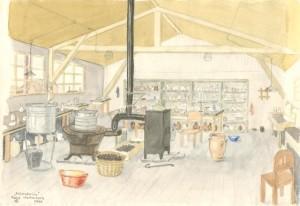 1944. Aquarel van Otto Birman. Laboratorium.
