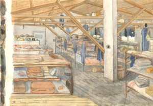 1943. Aquarel van Otto Birman. Interieur barak.