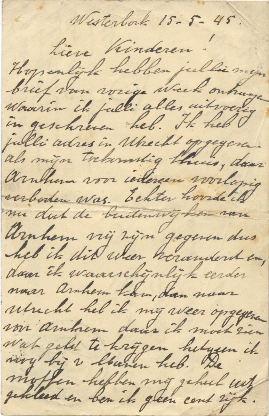 Eén van de brieven van Max Beem.