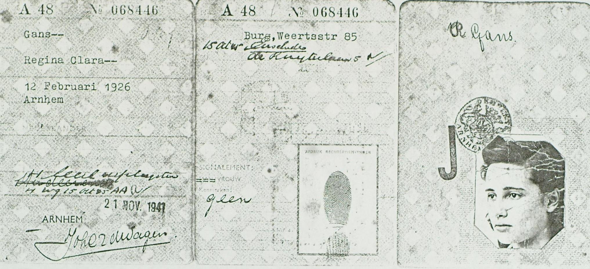 Persoonsbewijs van Regina.