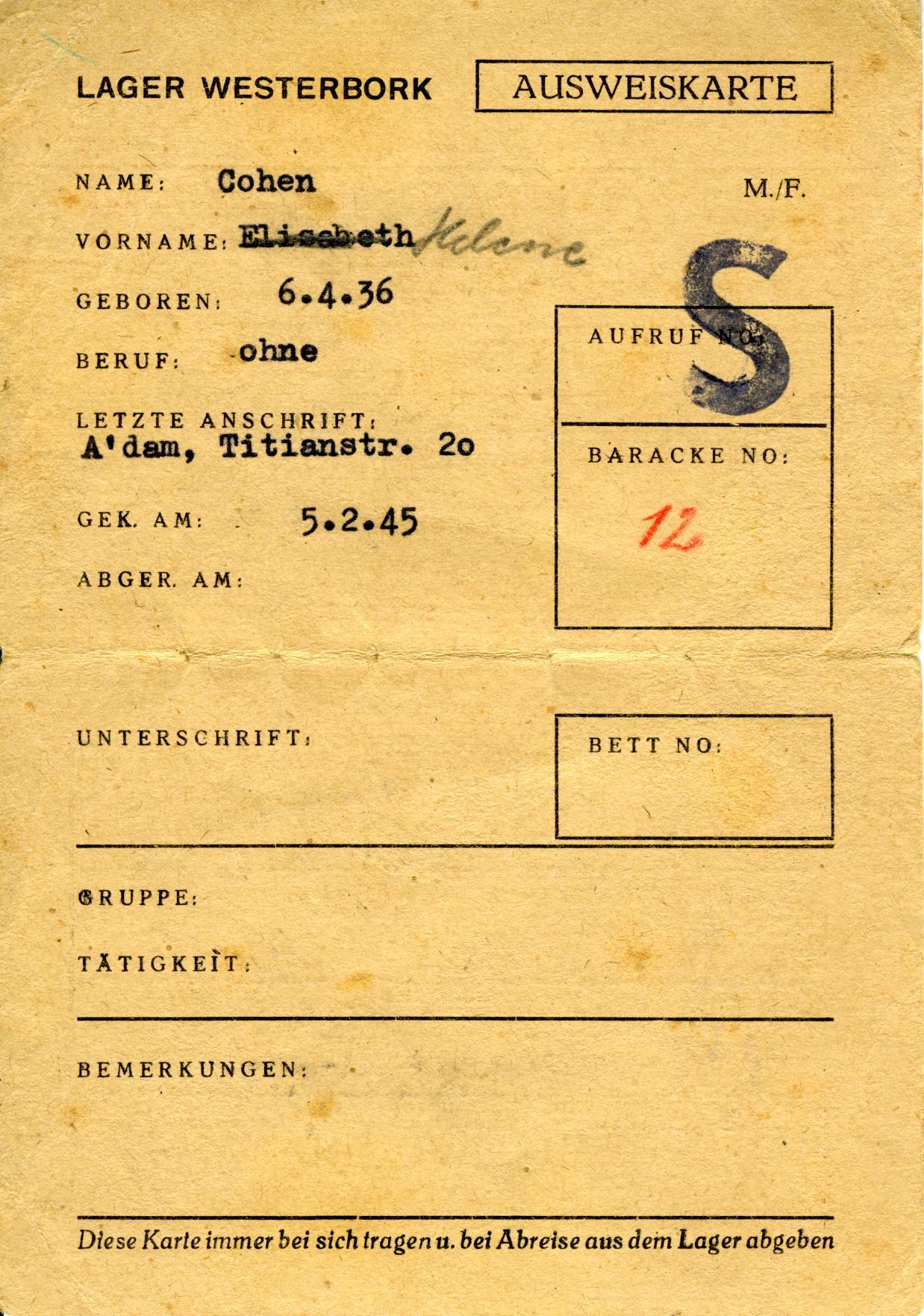Ausweiskaart Helene Cohen uit kamp Westerbork.