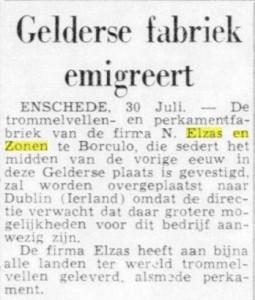 Artikel uit de Telegraaf, 1953.