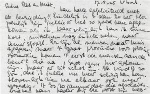 Brief uit kamp Westerbork van Bertie Visser, 1945.