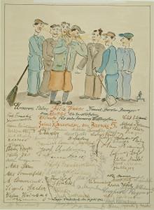 Een kaart uit kamp Westerbork, getekend door Egon Feldheim.