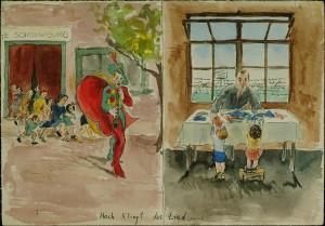 Een tekening van Egon Feldheim gemaakt in kamp Westerbork.