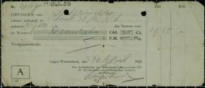 De kwitantie die Isaac ontving in kamp Westerbork.