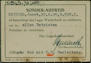 Sonder-Ausweis van Jacob uit 1945.